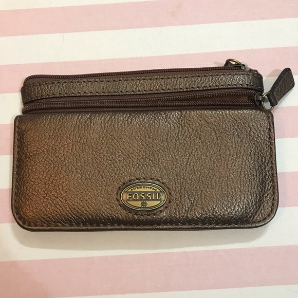 FOSSIL brown cow hide leather wallet pouch